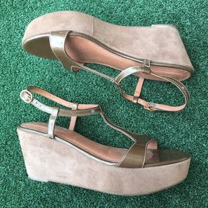 Corso Como Wedge Sandals Taupe Suede/Leather 8